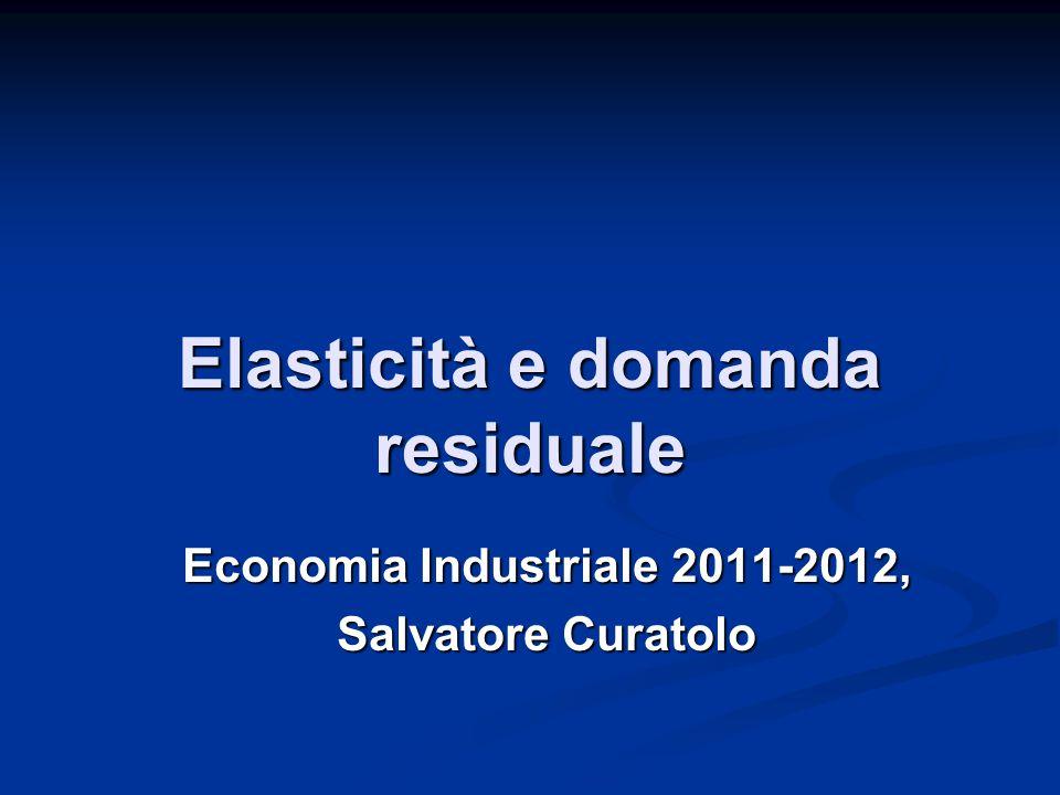 Elasticità e domanda residuale Economia Industriale 2011-2012, Salvatore Curatolo