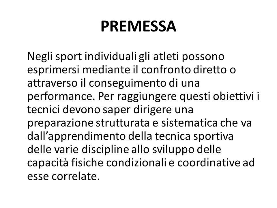 PREMESSA Negli sport individuali gli atleti possono esprimersi mediante il confronto diretto o attraverso il conseguimento di una performance. Per rag