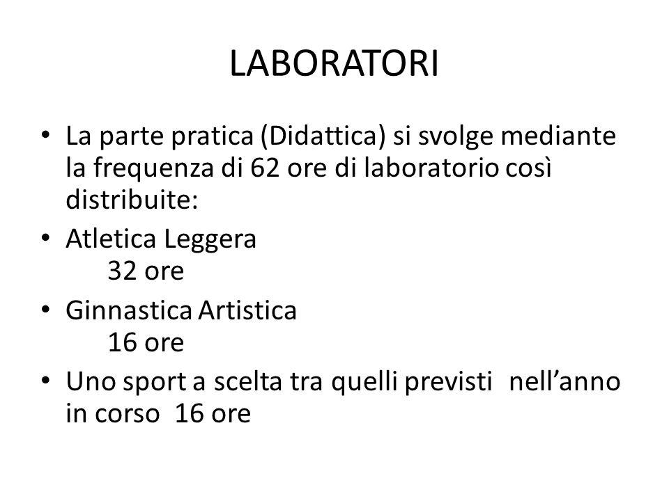 LABORATORI La parte pratica (Didattica) si svolge mediante la frequenza di 62 ore di laboratorio così distribuite: Atletica Leggera 32 ore Ginnastica