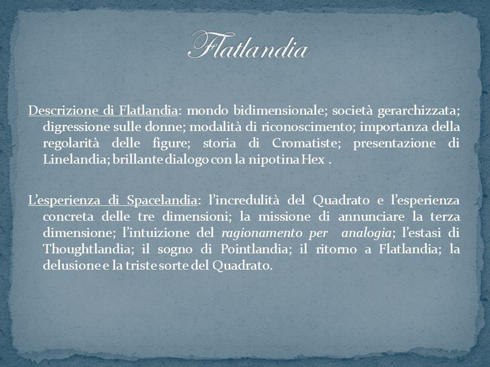 Descrizione di Flatlandia: mondo bidimensionale; società gerarchizzata; digressione sulle donne; modalità di riconoscimento; importanza della regolari