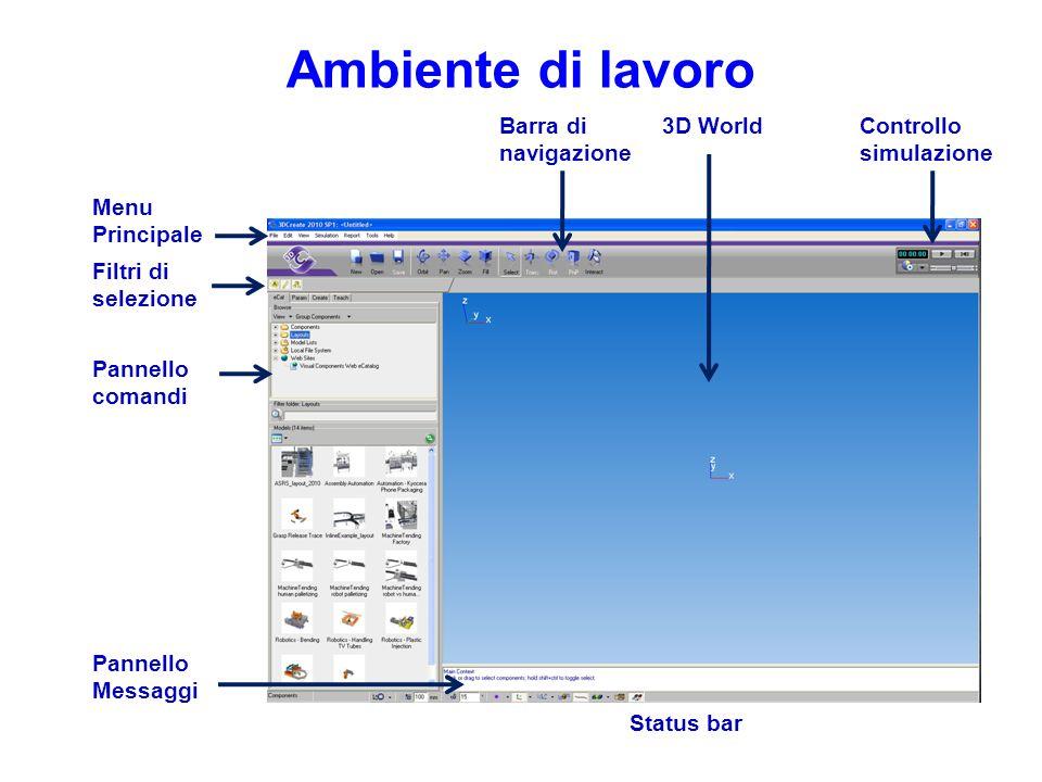 Ambiente di lavoro Controllo simulazione 3D World Pannello Messaggi Pannello comandi Filtri di selezione Barra di navigazione Menu Principale Status b