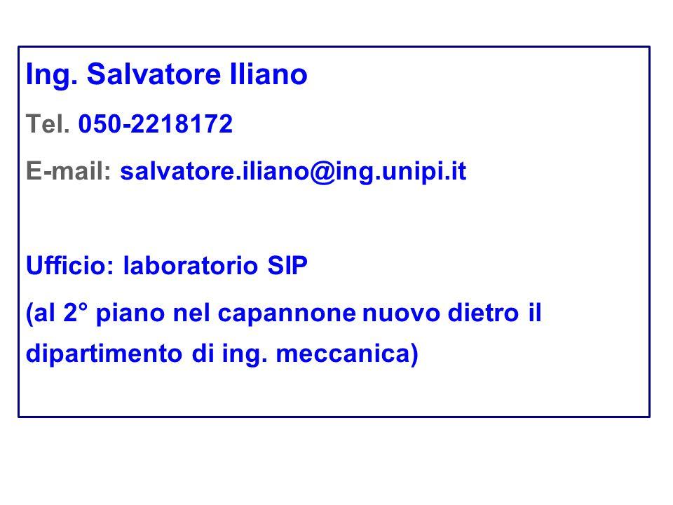 Ing. Salvatore Iliano Tel. 050-2218172 E-mail: salvatore.iliano@ing.unipi.it Ufficio: laboratorio SIP (al 2° piano nel capannonenuovo dietro il dipart