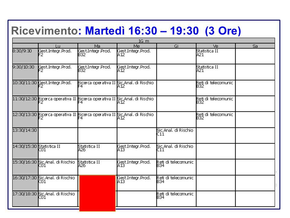Ricevimento: Martedì 16:30 – 19:30 (3 Ore)