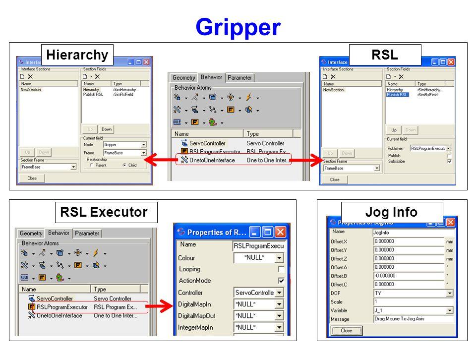 Gripper Hierarchy RSL RSL Executor Jog Info