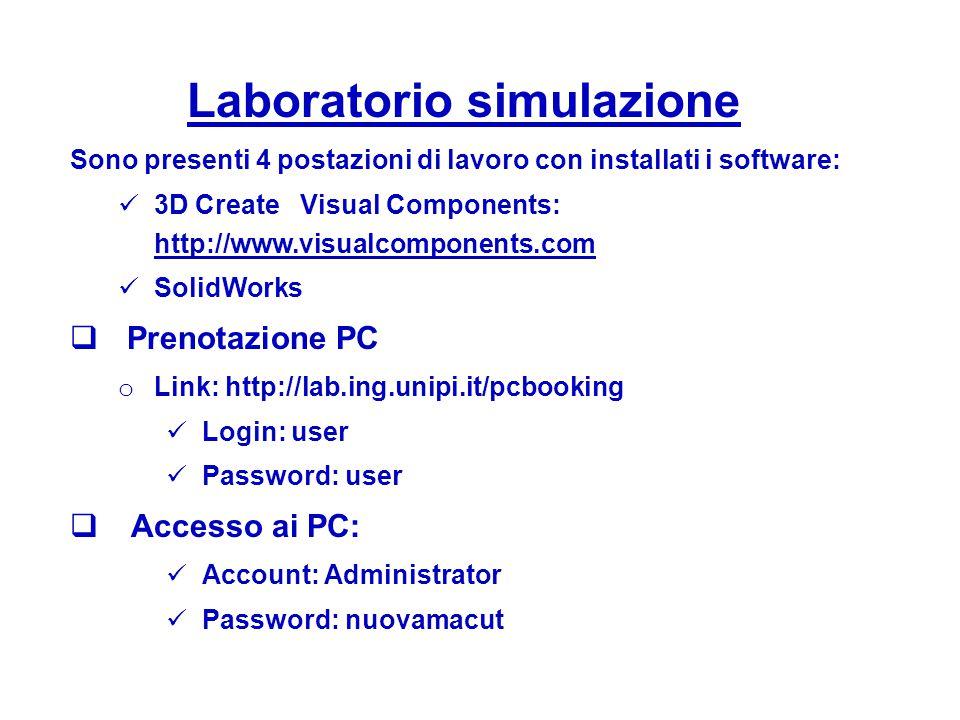 Laboratorio simulazione Sono presenti 4 postazioni di lavoro con installati i software: 3D Create Visual Components: http://www.visualcomponents.com S