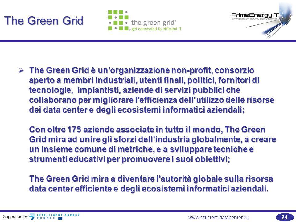 Supported by: www.efficient-datacenter.eu 24 The Green Grid  The Green Grid è un organizzazione non-profit, consorzio aperto a membri industriali, utenti finali, politici, fornitori di tecnologie, impiantisti, aziende di servizi pubblici che collaborano per migliorare l efficienza dell'utilizzo delle risorse dei data center e degli ecosistemi informatici aziendali; Con oltre 175 aziende associate in tutto il mondo, The Green Grid mira ad unire gli sforzi dell'industria globalmente, a creare un insieme comune di metriche, e a sviluppare tecniche e strumenti educativi per promuovere i suoi obiettivi; The Green Grid mira a diventare l autorità globale sulla risorsa data center efficiente e degli ecosistemi informatici aziendali.