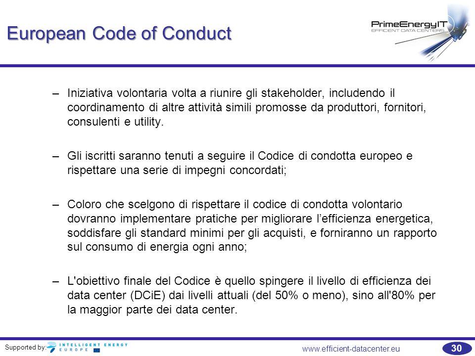 Supported by: www.efficient-datacenter.eu 30 European Code of Conduct –Iniziativa volontaria volta a riunire gli stakeholder, includendo il coordinamento di altre attività simili promosse da produttori, fornitori, consulenti e utility.