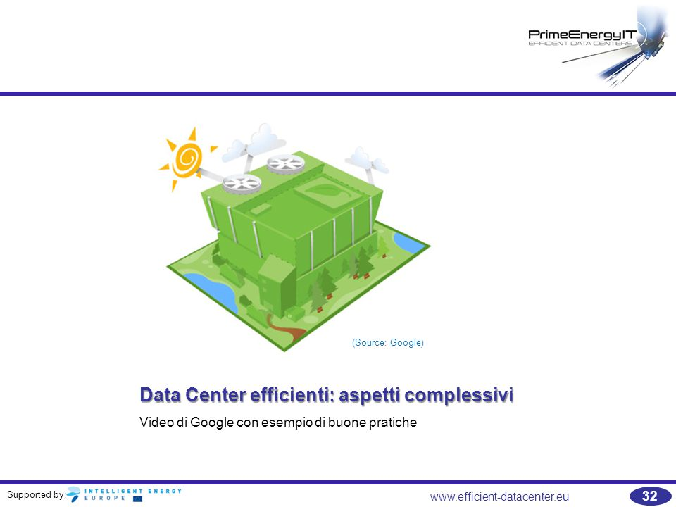 Supported by: www.efficient-datacenter.eu 32 Data Center efficienti: aspetti complessivi Video di Google con esempio di buone pratiche (Source: Google)