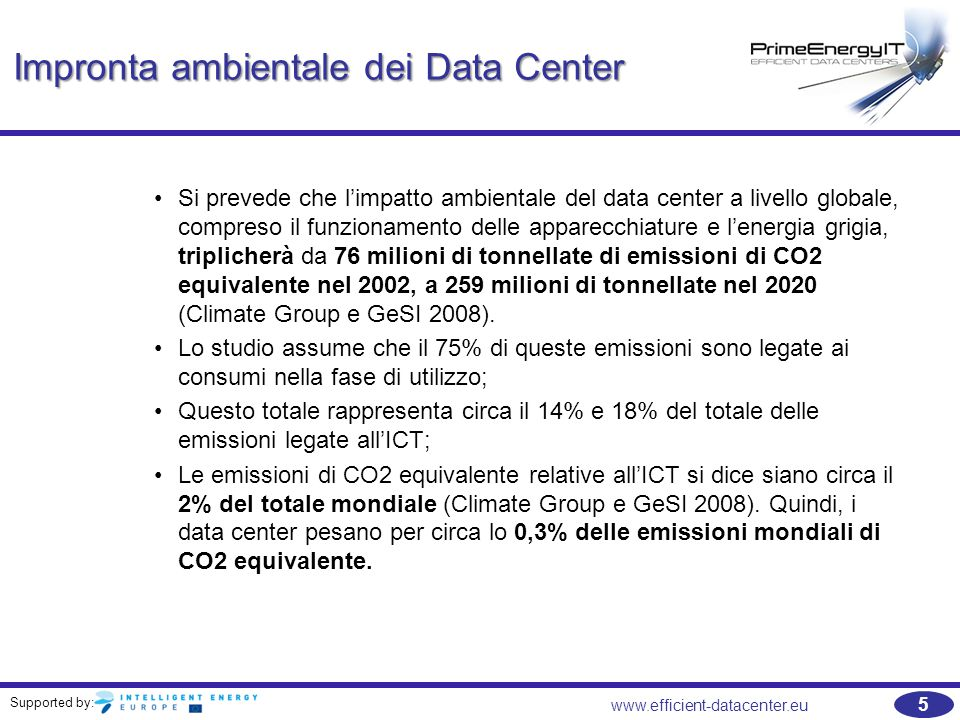 Supported by: www.efficient-datacenter.eu 6 Diventa VERDE.