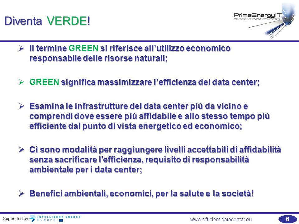 Supported by: www.efficient-datacenter.eu 7 Consumi di energia e costi nei data center Trend attuale e potanziale di risparmio (Source: HP)