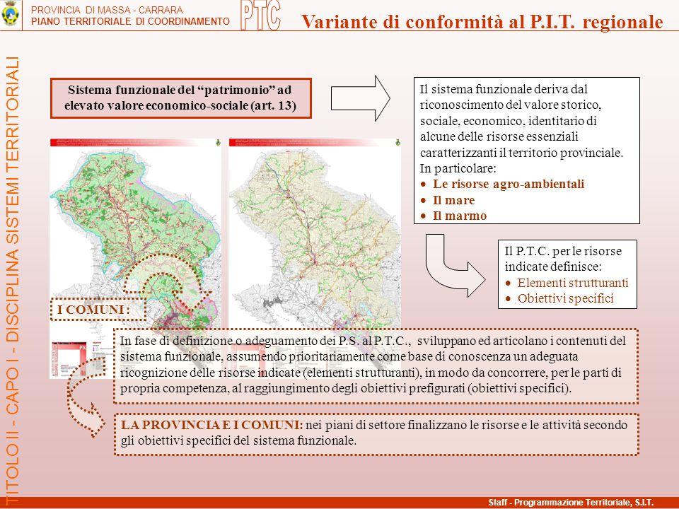 """PROVINCIA DI MASSA - CARRARA PIANO TERRITORIALE DI COORDINAMENTO Variante di conformità al P.I.T. regionale Sistema funzionale del """"patrimonio"""" ad ele"""