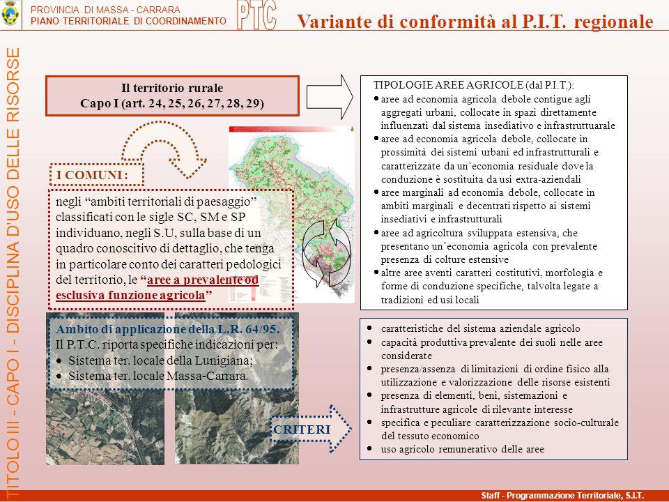 PROVINCIA DI MASSA - CARRARA PIANO TERRITORIALE DI COORDINAMENTO Variante di conformità al P.I.T. regionale Il territorio rurale Capo I (art. 24, 25,
