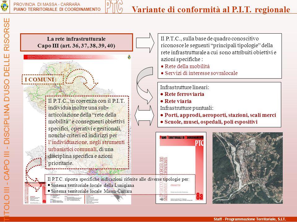 PROVINCIA DI MASSA - CARRARA PIANO TERRITORIALE DI COORDINAMENTO Variante di conformità al P.I.T. regionale La rete infrastrutturale Capo III (art. 36