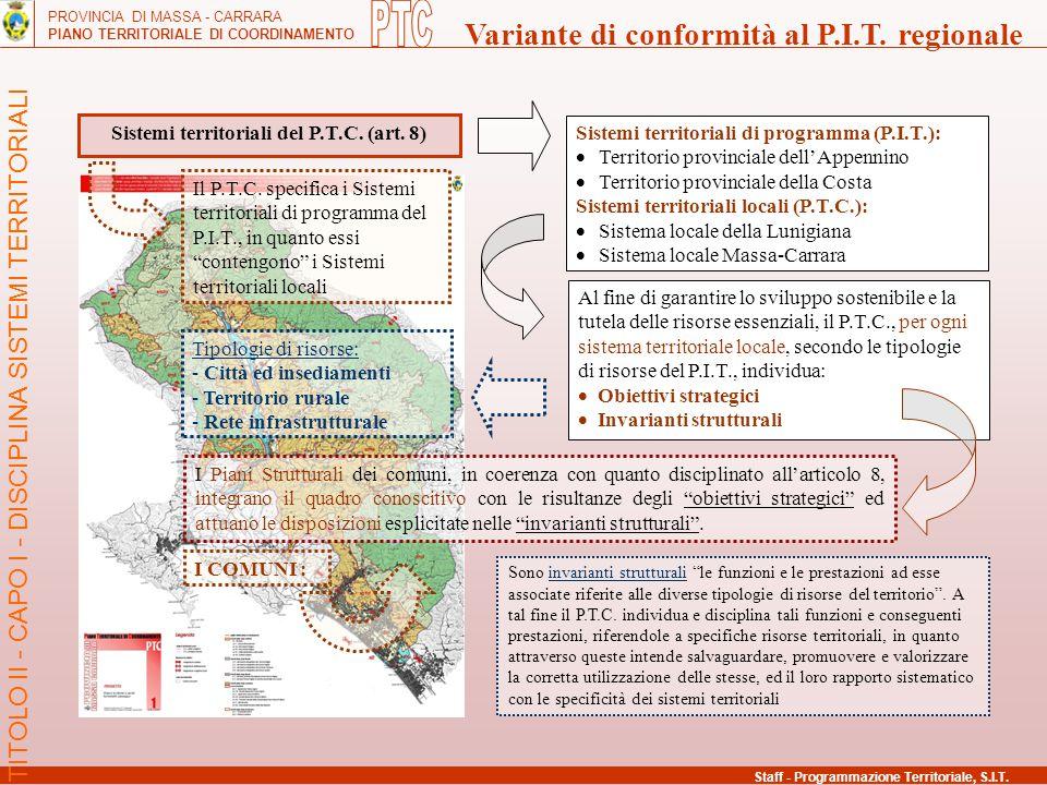 PROVINCIA DI MASSA - CARRARA PIANO TERRITORIALE DI COORDINAMENTO Variante di conformità al P.I.T. regionale Staff - Programmazione Territoriale, S.I.T