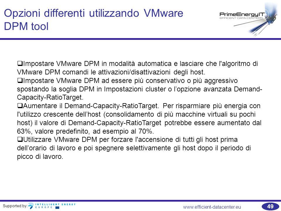 Supported by: www.efficient-datacenter.eu 49 Opzioni differenti utilizzando VMware DPM tool  Impostare VMware DPM in modalità automatica e lasciare che l algoritmo di VMware DPM comandi le attivazioni/disattivazioni degli host.