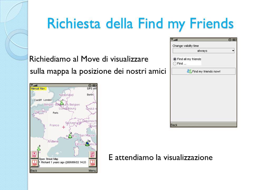 Richiesta della Find my Friends Richiediamo al Move di visualizzare sulla mappa la posizione dei nostri amici E attendiamo la visualizzazione