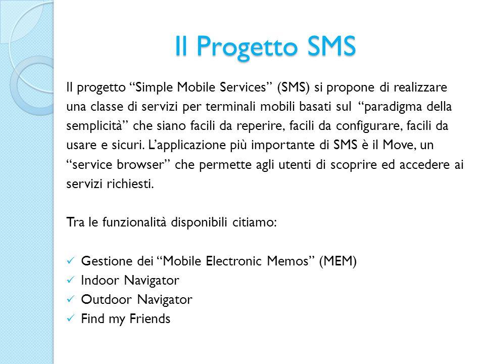 Il Progetto SMS Il progetto Simple Mobile Services (SMS) si propone di realizzare una classe di servizi per terminali mobili basati sul paradigma della semplicità che siano facili da reperire, facili da configurare, facili da usare e sicuri.