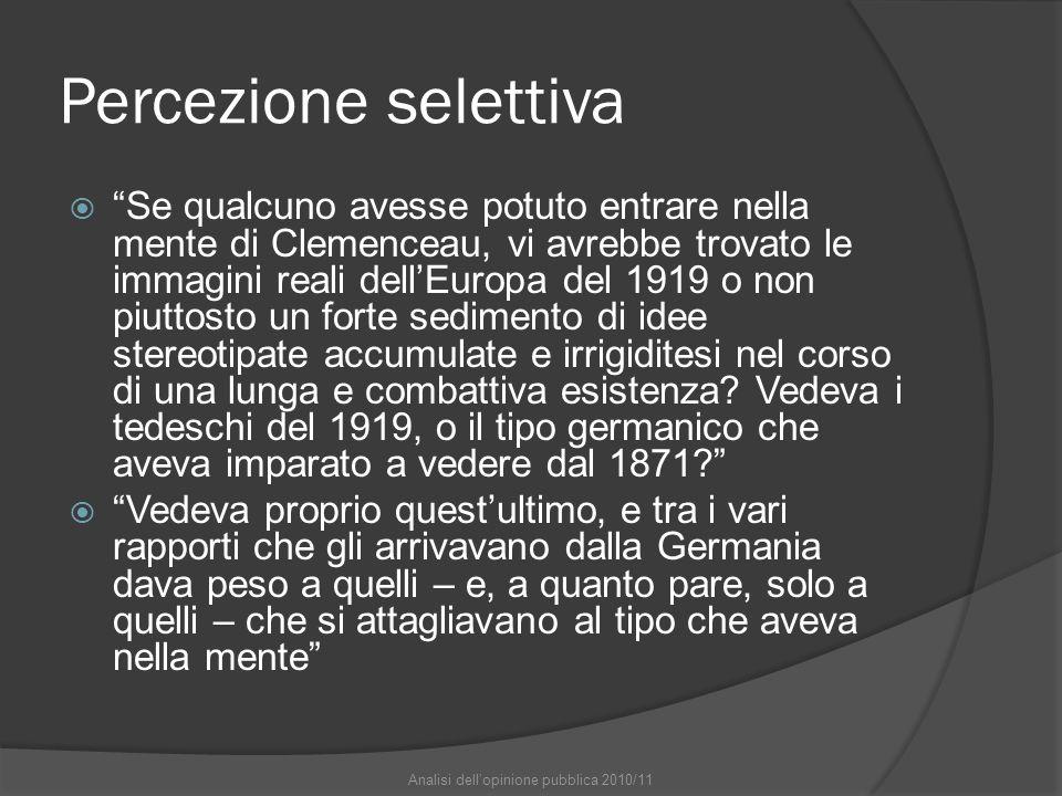 """Percezione selettiva  """"Se qualcuno avesse potuto entrare nella mente di Clemenceau, vi avrebbe trovato le immagini reali dell'Europa del 1919 o non p"""