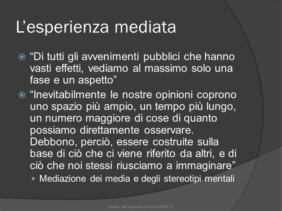 """L'esperienza mediata  """"Di tutti gli avvenimenti pubblici che hanno vasti effetti, vediamo al massimo solo una fase e un aspetto""""  """"Inevitabilmente l"""