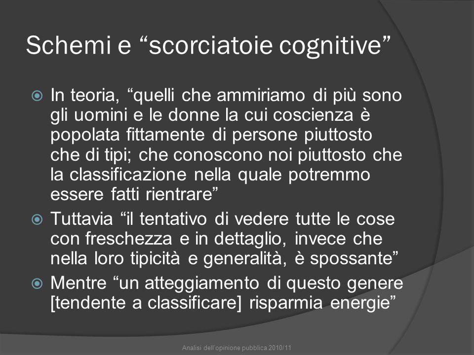 """Schemi e """"scorciatoie cognitive""""  In teoria, """"quelli che ammiriamo di più sono gli uomini e le donne la cui coscienza è popolata fittamente di person"""