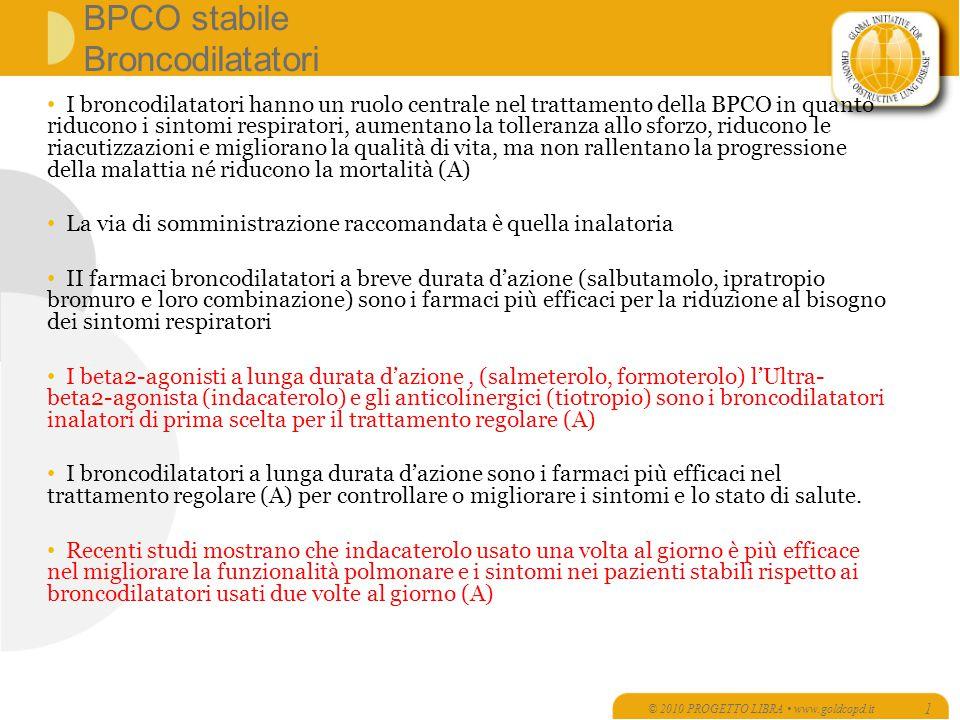 BPCO stabile Broncodilatatori I broncodilatatori hanno un ruolo centrale nel trattamento della BPCO in quanto riducono i sintomi respiratori, aumentan