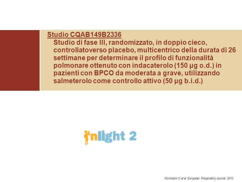 Studio CQAB149B2336 Studio di fase III, randomizzato, in doppio cieco, controllatoverso placebo, multicentrico della durata di 26 settimane per determ