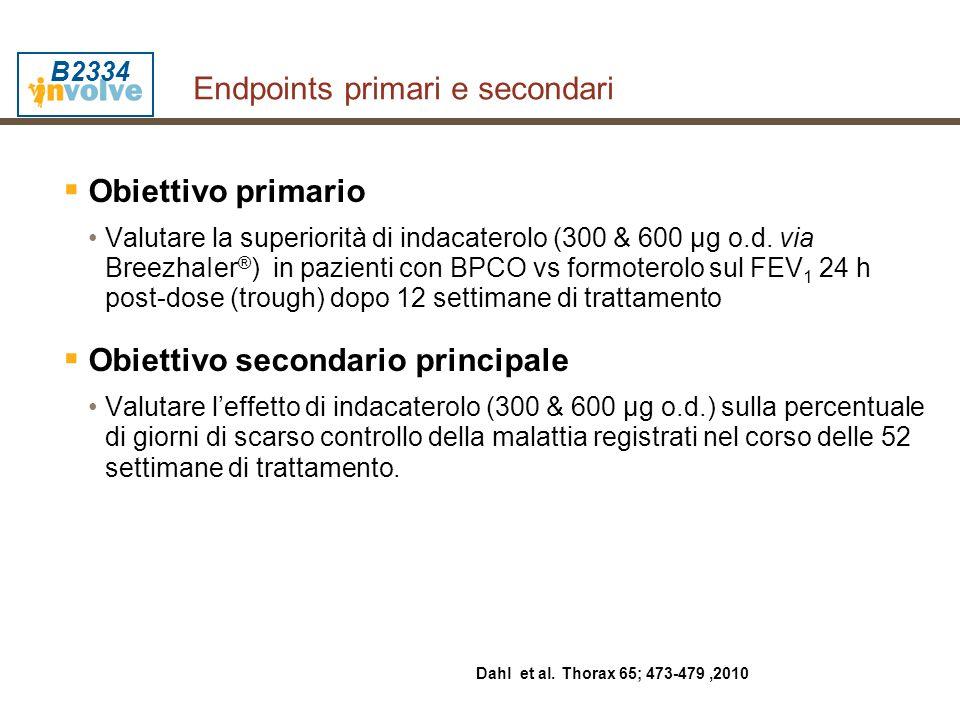 Endpoints primari e secondari  Obiettivo primario Valutare la superiorità di indacaterolo (300 & 600 µg o.d. via BreezhaIer ® ) in pazienti con BPCO