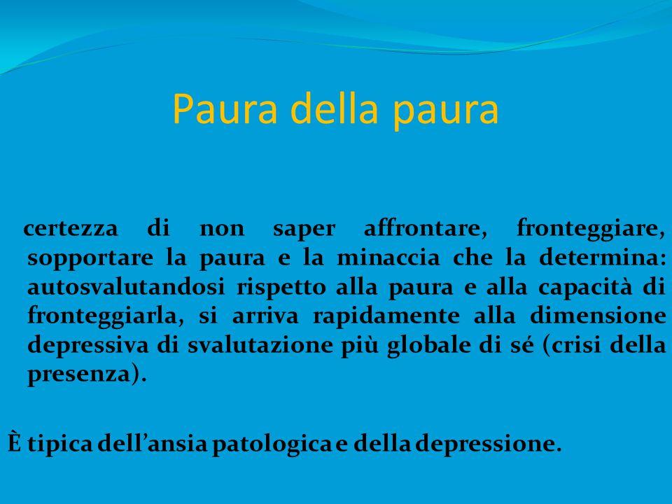 ANSIA Stato caratterizzato da sensazioni di paura, segnalato da sensazioni psichiche e fisiche, sia cognitive (incapacità di controllarsi) che somatiche (palpitazioni, senso di soffocamento).