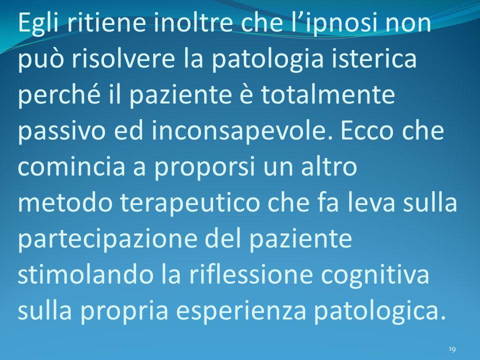 Egli ritiene inoltre che l'ipnosi non può risolvere la patologia isterica perché il paziente è totalmente passivo ed inconsapevole. Ecco che comincia