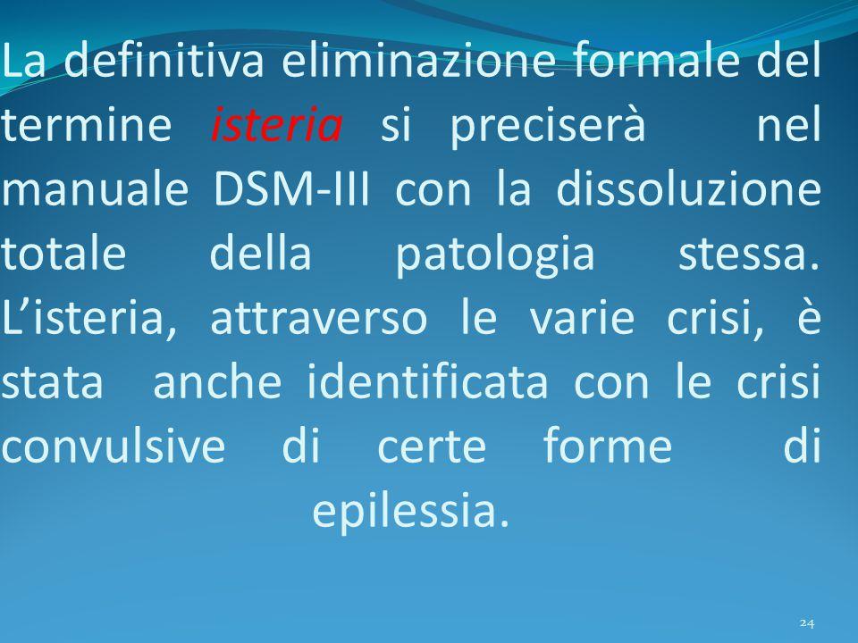 La definitiva eliminazione formale del termine isteria si preciserà nel manuale DSM-III con la dissoluzione totale della patologia stessa. L'isteria,