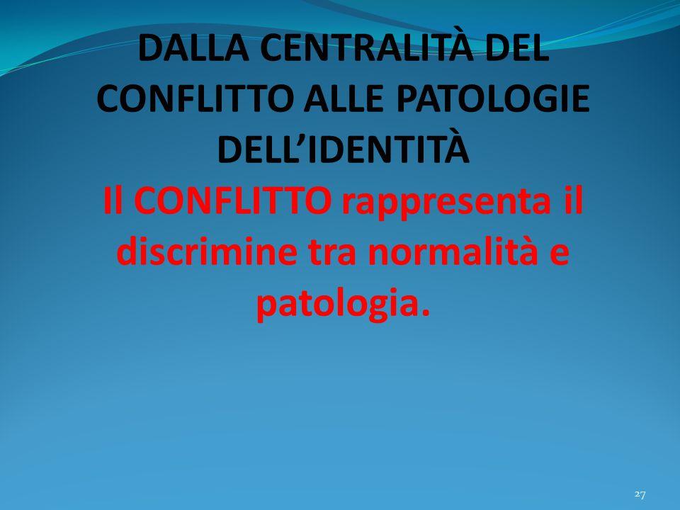 DALLA CENTRALITÀ DEL CONFLITTO ALLE PATOLOGIE DELL'IDENTITÀ Il CONFLITTO rappresenta il discrimine tra normalità e patologia. 27