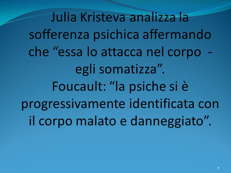 """Julia Kristeva analizza la sofferenza psichica affermando che """"essa lo attacca nel corpo - egli somatizza"""". Foucault: """"la psiche si è progressivamente"""