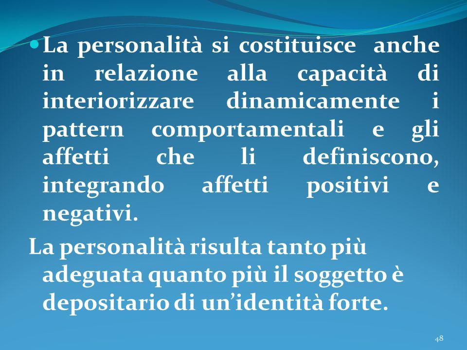 La personalità si costituisce anche in relazione alla capacità di interiorizzare dinamicamente i pattern comportamentali e gli affetti che li definisc