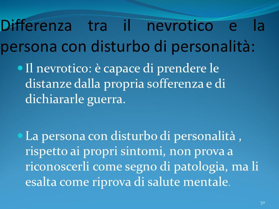 Differenza tra il nevrotico e la persona con disturbo di personalità: Il nevrotico: è capace di prendere le distanze dalla propria sofferenza e di dic