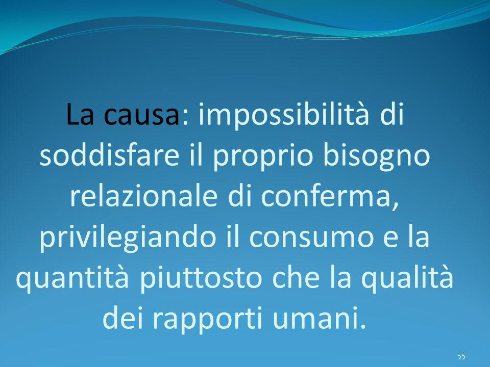 La causa: impossibilità di soddisfare il proprio bisogno relazionale di conferma, privilegiando il consumo e la quantità piuttosto che la qualità dei