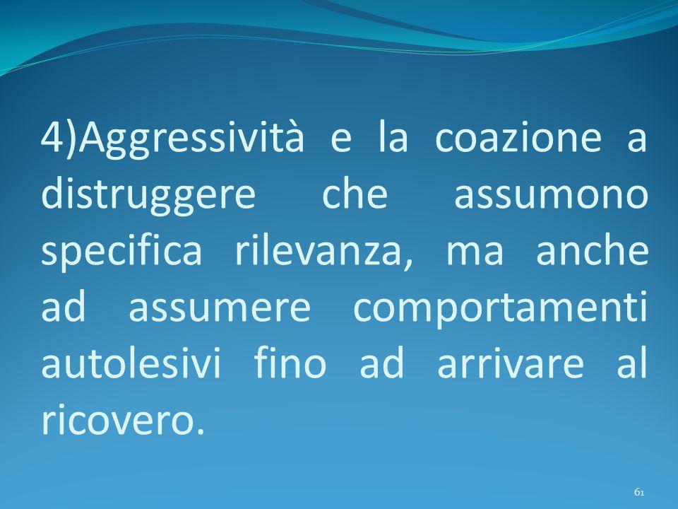 4)Aggressività e la coazione a distruggere che assumono specifica rilevanza, ma anche ad assumere comportamenti autolesivi fino ad arrivare al ricover