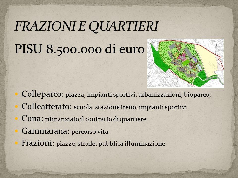 PISU 8.500.000 di euro Colleparco: piazza, impianti sportivi, urbanizzazioni, bioparco; Colleatterato: scuola, stazione treno, impianti sportivi Cona: