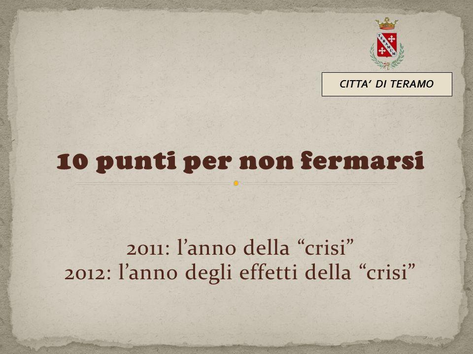"""10 punti per non fermarsi 2011: l'anno della """"crisi"""" 2012: l'anno degli effetti della """"crisi"""" CITTA' DI TERAMO"""