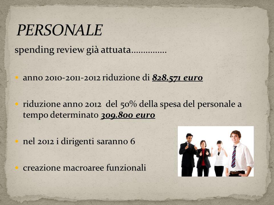 spending review già attuata…………… anno 2010-2011-2012 riduzione di 828.571 euro riduzione anno 2012 del 50% della spesa del personale a tempo determina
