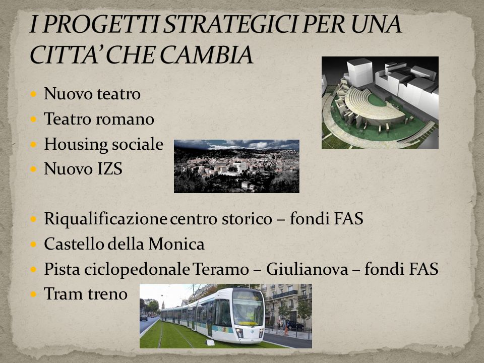 Nuovo teatro Teatro romano Housing sociale Nuovo IZS Riqualificazione centro storico – fondi FAS Castello della Monica Pista ciclopedonale Teramo – Gi