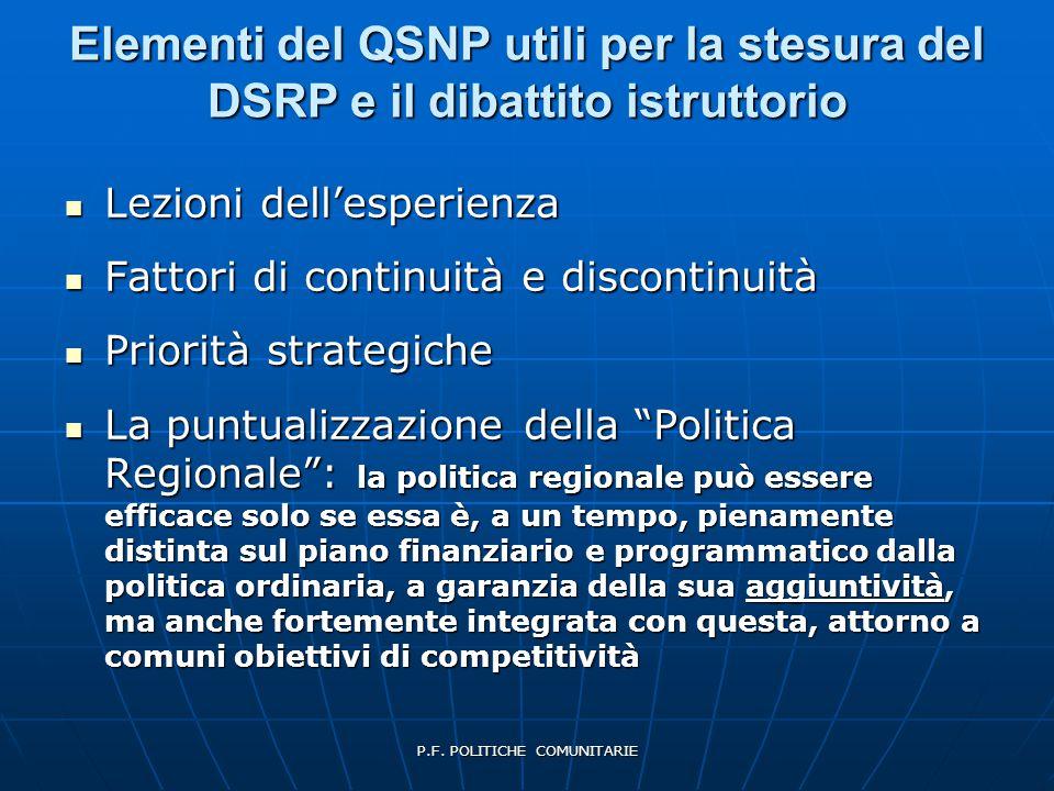 P.F. POLITICHE COMUNITARIE Elementi del QSNP utili per la stesura del DSRP e il dibattito istruttorio Lezioni dell'esperienza Lezioni dell'esperienza