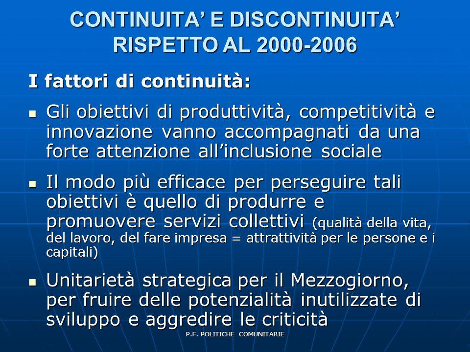 P.F. POLITICHE COMUNITARIE CONTINUITA' E DISCONTINUITA' RISPETTO AL 2000-2006 I fattori di continuità: Gli obiettivi di produttività, competitività e