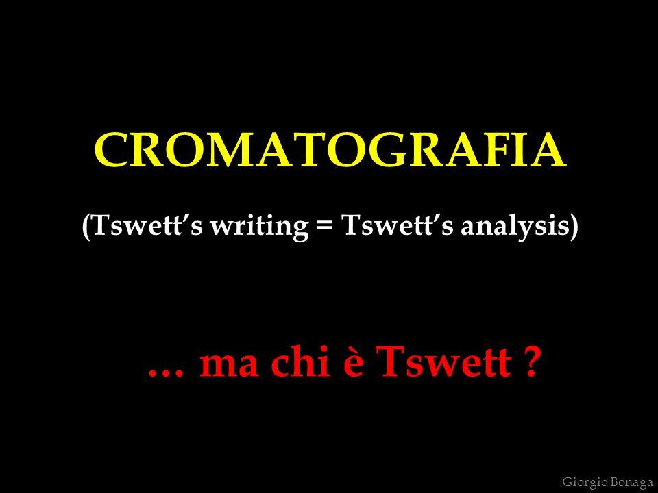 CROMATOGRAFIA ( chromos = colore + graphos = scrittura mediante il colore) L'8 mar Mikhail Semynovich Tswett (1872-1919) Nasce ad Asti (Italia) il 14 maggio 1872, da Siméon, russo, e Maria de Derozza, italiana.