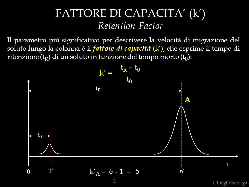 Il parametro più significativo per descrivere la velocità di migrazione del soluto lungo la colonna è il fattore di capacità (k'), che esprime il temp