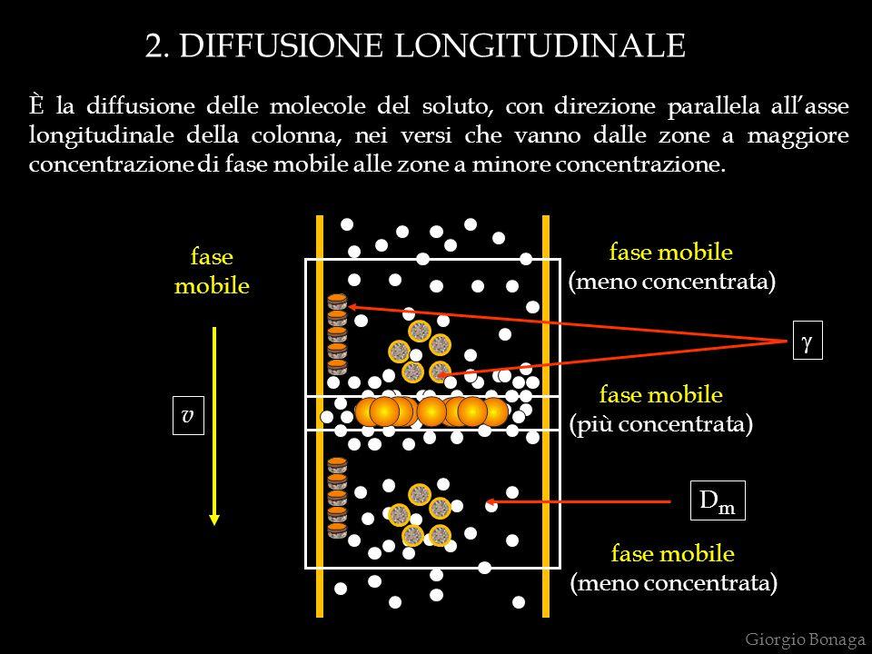 2. DIFFUSIONE LONGITUDINALE fase mobile fase mobile (più concentrata) fase mobile (meno concentrata) fase mobile (meno concentrata) È la diffusione de