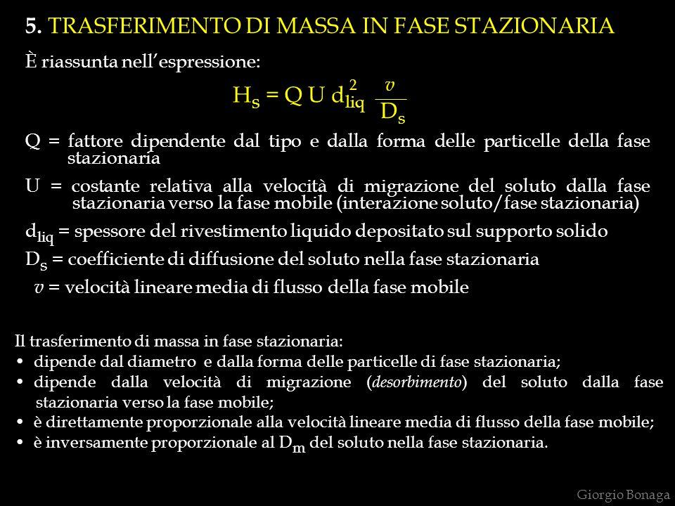 5. TRASFERIMENTO DI MASSA IN FASE STAZIONARIA È riassunta nell'espressione: Q = fattore dipendente dal tipo e dalla forma delle particelle della fase