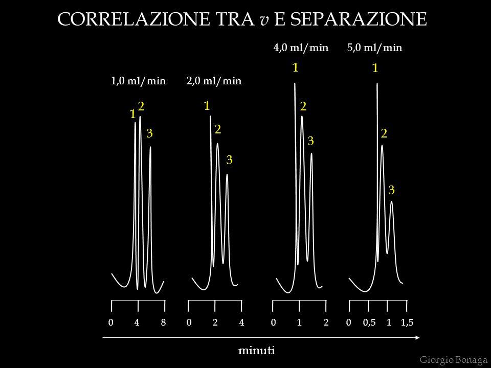 CORRELAZIONE TRA v E SEPARAZIONE 1,0 ml/min2,0 ml/min 4,0 ml/min5,0 ml/min 1 1 1 1 22 2 3 3 3 3 minuti 2 0 4 80 2 40 1 20 0,5 1 1,5 Giorgio Bonaga