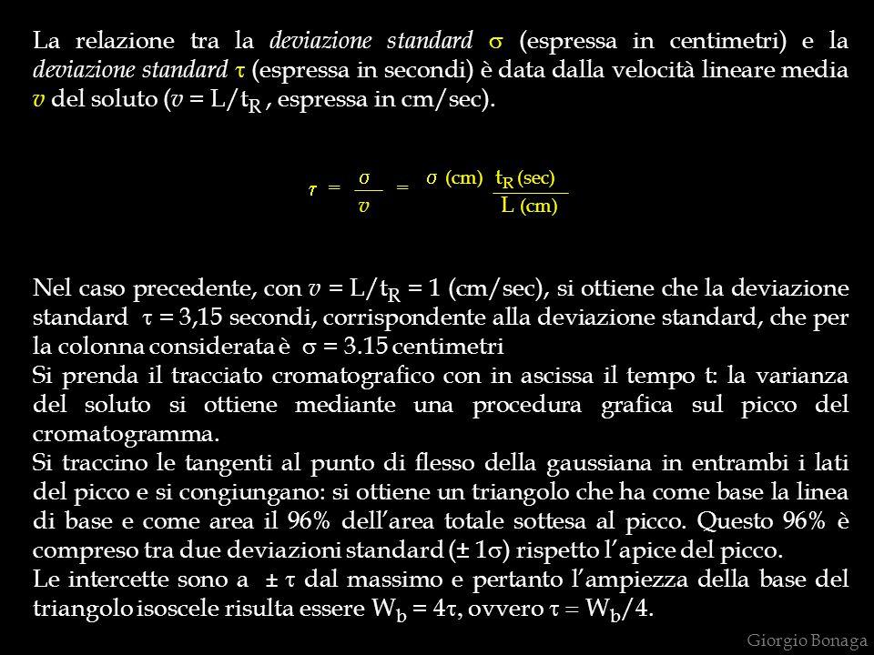 La relazione tra la deviazione standard  (espressa in centimetri) e la deviazione standard  (espressa in secondi) è data dalla velocità lineare medi