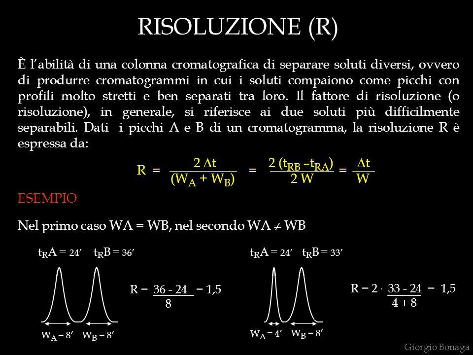 RISOLUZIONE (R) È l'abilità di una colonna cromatografica di separare soluti diversi, ovvero di produrre cromatogrammi in cui i soluti compaiono come
