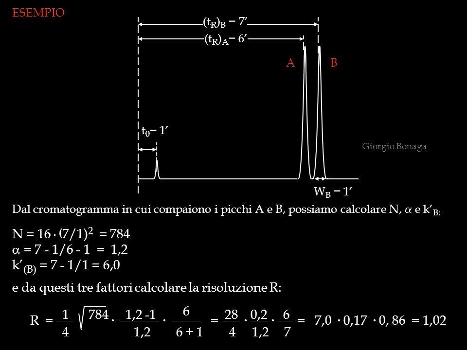 t 0 = 1' (t R ) B = 7' (t R ) A = 6' W B = 1' ESEMPIO Dal cromatogramma in cui compaiono i picchi A e B, possiamo calcolare N,  e k' B: N = 16. ( 7/